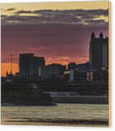 Kansas City Sunrise From Kaw Point Wood Print