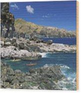 Kayaking Along Coastline Wood Print