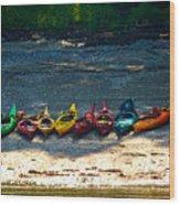 Kayaks In A Row Wood Print