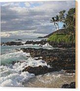 Ke Lei Mai La O Paako Oneloa Puu Olai Makena Maui Hawaii Wood Print by Sharon Mau