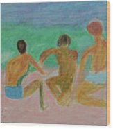 Kids At The Beach Wood Print