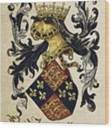 King Of England Coat Of Arms - Livro Do Armeiro-mor Wood Print