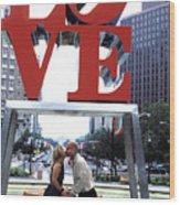 Kiss Under Love Sculpture Wood Print