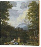 Klassische Landschaft Mit Arkadischer Wood Print