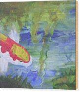 Kohaku Koi And Water Lily Wood Print