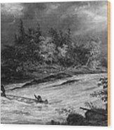 Krieghoff: Canoe On Rapids Wood Print