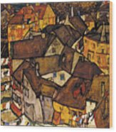 Krumau - Crescent Of Houses Wood Print
