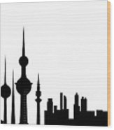 Kuwait Skyline Wood Print