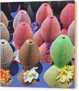 Ladies Collapsible Straw Hats At The Cove Marketplace At Port Ca Wood Print