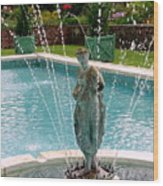Lady In Fountain Wood Print