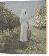 Lady In Vineyard Wood Print by Joana Kruse