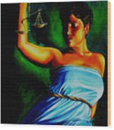 Lady Justice Wood Print