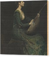 Lady With A Lute Wood Print
