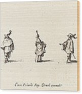 Lady With Dress Gathered Up, And Two Gentlemen Wood Print