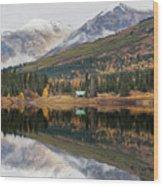 Lake Cabins In Fall Wood Print