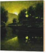 Lakeside Sunset Wood Print