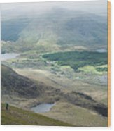 Landscape View Of Llyn Cwellyn And Moel Cynghorion In Snowdonia  Wood Print