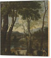 Landscape With A Cowherd Wood Print