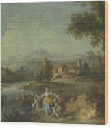 Landscape With A Group Of Figures Fishing Wood Print