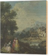 Landscape With A Group Of Figures Wood Print