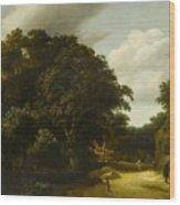 Landscape With A Village Road Wood Print