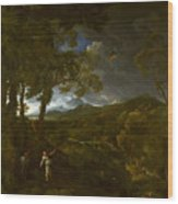 Landscape With Elijah And The Angel Wood Print