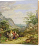Landscape With Figures And Cattle Wood Print