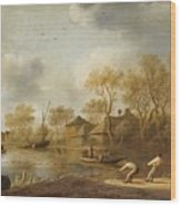 Landscape With Fishers Wood Print