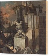 Landscape With Ruins Wood Print