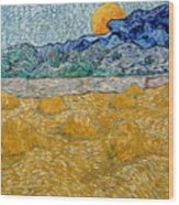 Landscape With Wheat Sheaves And Rising Moon Wood Print