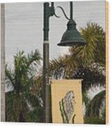 Lantana Lamp Post Wood Print