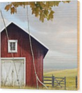 Large Red Barn With Bicycle In Field Of Wheat Wood Print