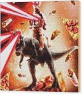 Laser Eyes Space Cat Riding Dog And Dinosaur Wood Print
