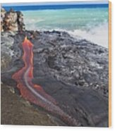 Lava Flowing Into Ocean, Hawaii Wood Print