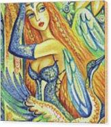 Fairy Leda And The Swan Wood Print