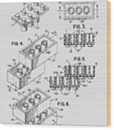Lego Toy Building Brick Patent  Wood Print