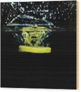 Lemon Dropped Into Water  Wood Print