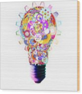 Light Bulb Design By Cogs And Gears  Wood Print