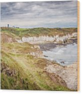 Lighthouse And Cliffs Wood Print