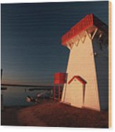 Lighthouse And Marina At Hecla In Manitoba Wood Print