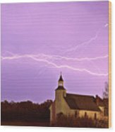 Lightning Bolts Over Spring Valley Country Church Wood Print