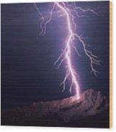 Lightning Over Tucson Wood Print
