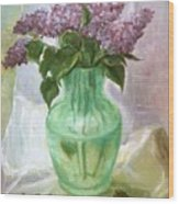 Lilacs In A Glass Vase Wood Print
