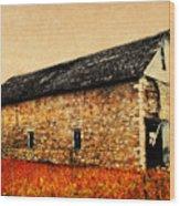 Lime Stone Barn Wood Print by Julie Hamilton