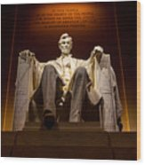 Lincoln Memorial At Night - Washington D.c. Wood Print