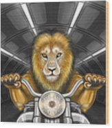Lion On Motorcycle Wood Print