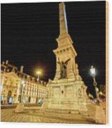 Lisbon By Night Wood Print