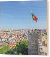 Lisbon Castle Flag Wood Print