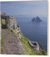 Little Skellig Island, From Skellig Michael, County Kerry Ireland Wood Print