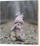 Little Teddy Bear Sitting In Knitted Scarf And Cap In The Winter Forest Between The Rails Wood Print